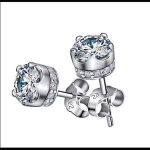 Brand new crown diamond Cz stud earrings